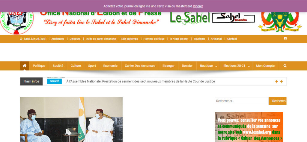 Latest Local and World News in Niger - Le Sahel.