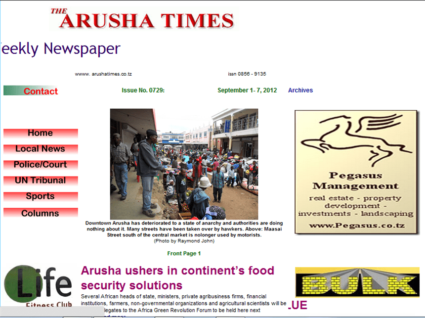 Latest Local and World News in Tanzania - Arusha Times