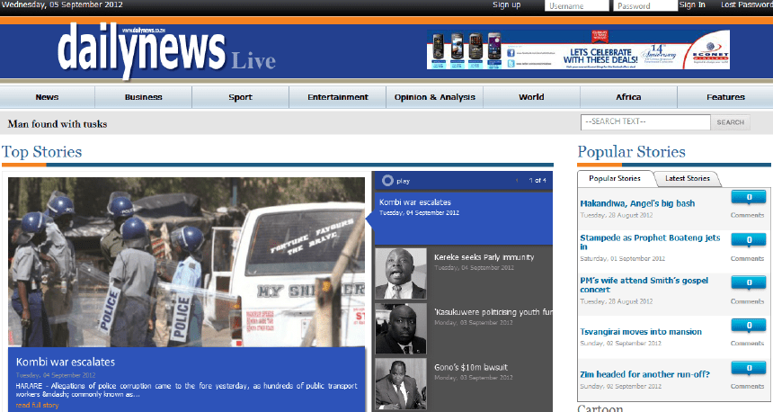 The image shows an old cover of newspapers: dealings. Latest Local and World News in Zimbabwe - World News Today