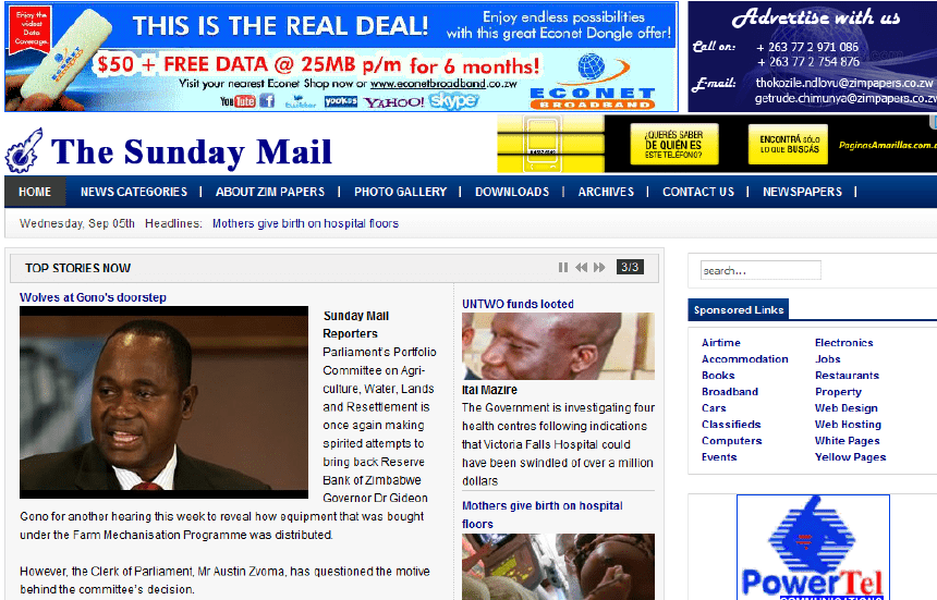 The image shows an old cover of newspapers: The Sunday Mail. Latest Local and World News in Zimbabwe - World News Today