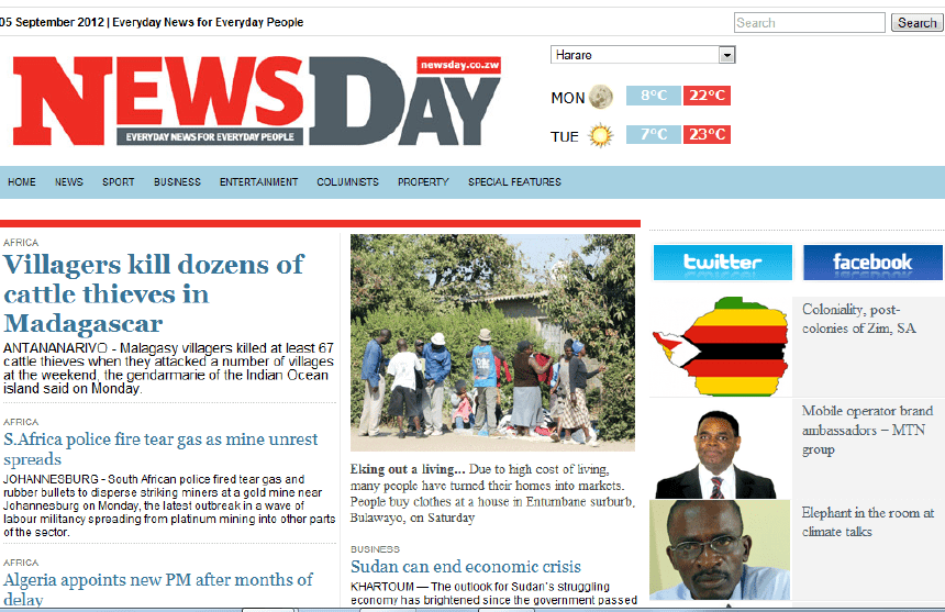 The image shows an old cover of newspapers:  News Day. Latest Local and World News in Zimbabwe - World News Today
