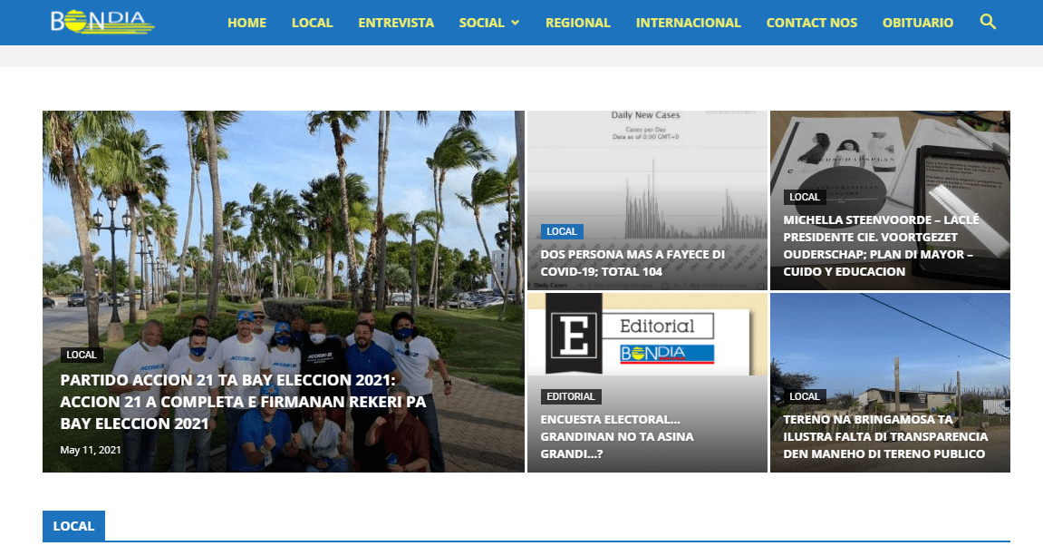 The image shows an old cover of newspapers: Bon Dia. Latest Local and World News in Aruba - World News Today