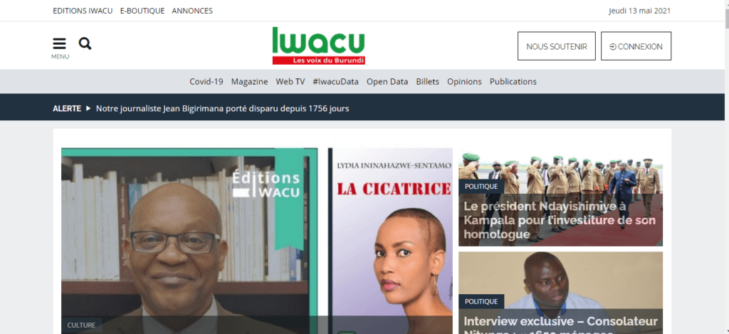 The image shows an old cover of newspapers: Iwacu. World News Today - noticias-today.com