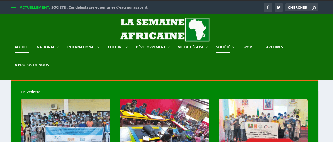 The image shows an old cover of newspapers: La Semaine Africaine.  Latest Local and World News in Congo - World News Today